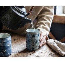 Keramik hand bemalt tasse Kreative vintage cup Cafe bar Plum blossom Rot und Blau Blume patterflower becher Japanischen tasse