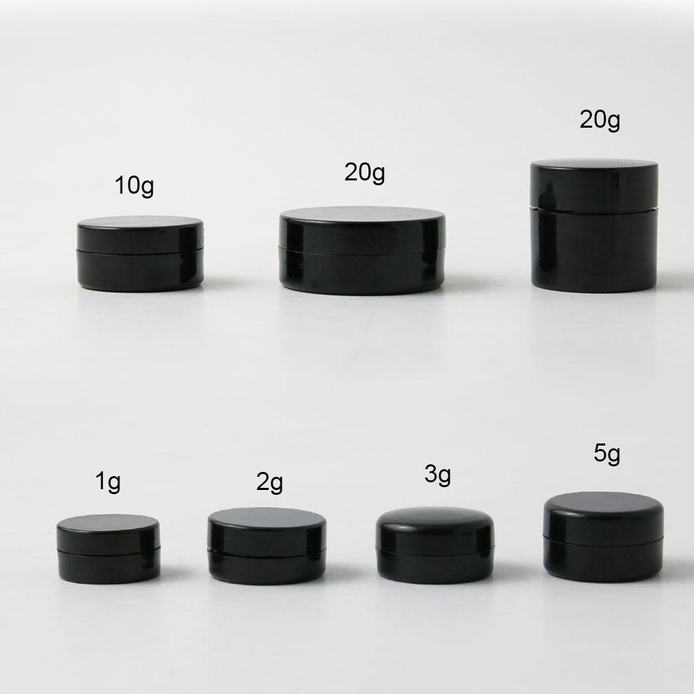 50 x viagem portátil pequeno 1g 2g 3g 5g 10g 20g plástico preto creme frasco pote caixa maquiagem unha arte cosméticos grânulo recipiente de armazenamento