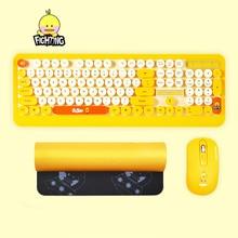 Clavier sans fil souris Combos bureau de jeu ordinateur portable mignon Punk rétro rond porte-clés personnalité de bande dessinée ordinateur périphérique