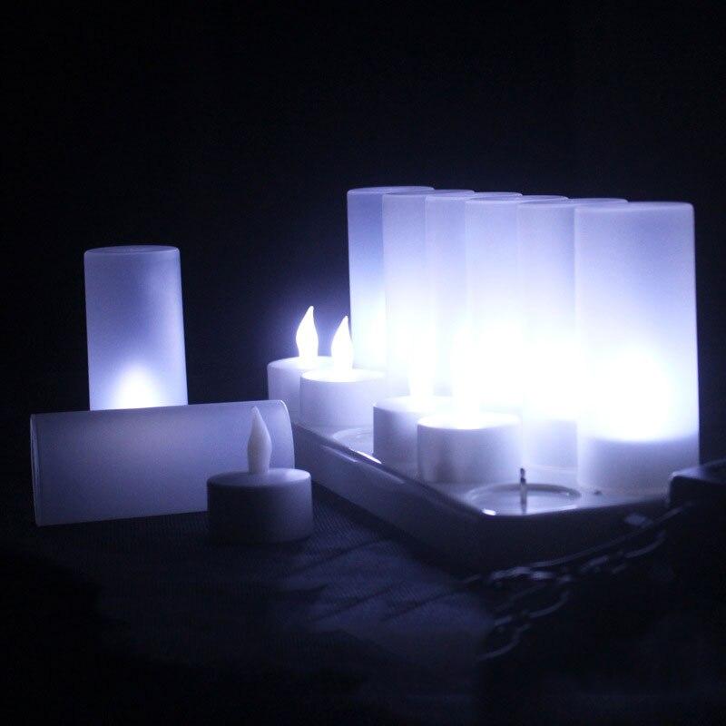 12 piezas blanco frío parpadeante sin llama oplaadbare kaarsen, led azul verde...