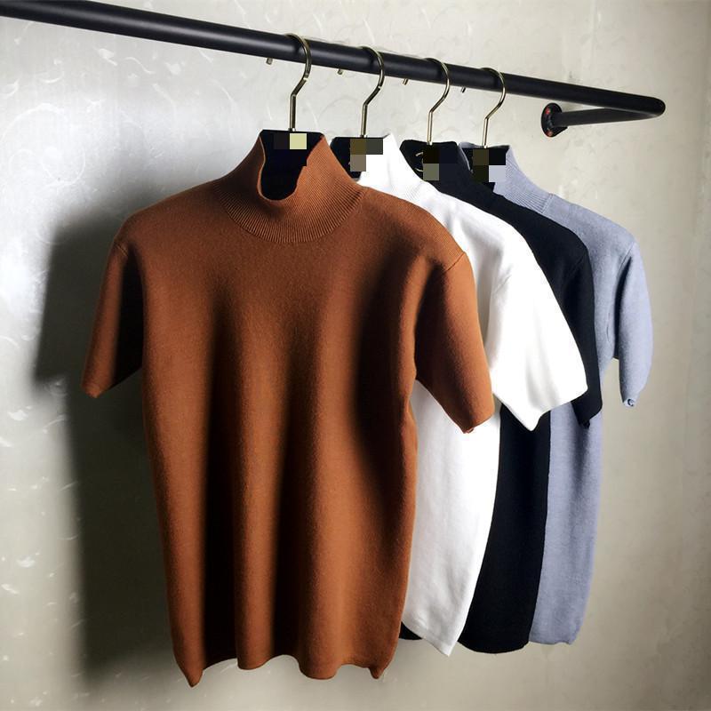 2020 primavera novo estilo coreano qualidade manga curta gola alta solta grossa malha bottomming camisola pulôver feminino navio livre