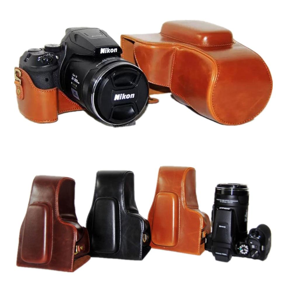Pu de cuero Cámara caso bolsa de agarre para NIKON Coolpix P900s P900