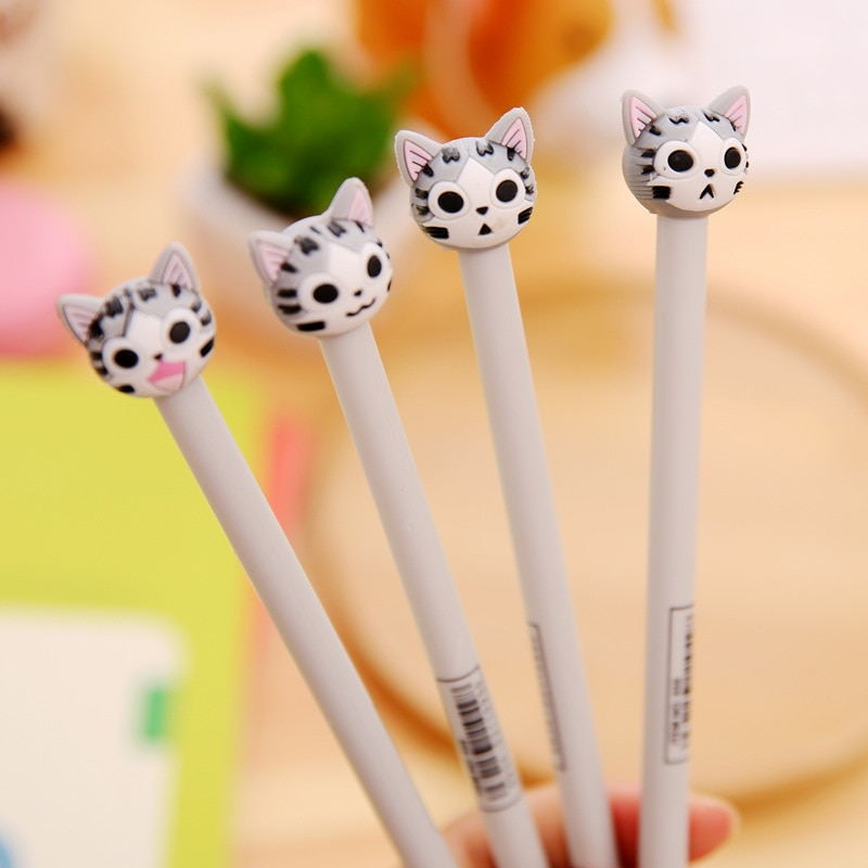 ¡Envío gratis! 1 lote = 40 unidades nuevo bolígrafo de Gel creativo con forma de cabeza de gato de dibujos animados/bolígrafo de agua de tinta/premio de estudiante pupila/papelería creativa
