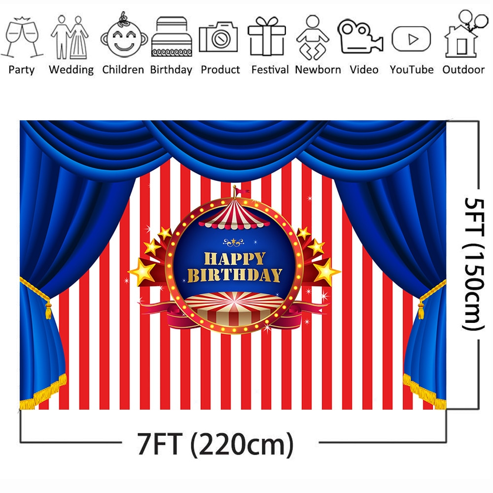Royal Stage Style Birthday Backdrop for Photography Circus Party Photo Background White and Red Stripes Blue Curtain Backdrops enlarge