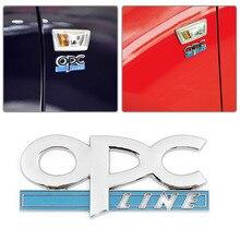 Naklejki samochodowe linia OPC 3D srebrny metalowy samochód słowo list metalowa naklejka znaczek z symbolem naklejka Auto dla opla