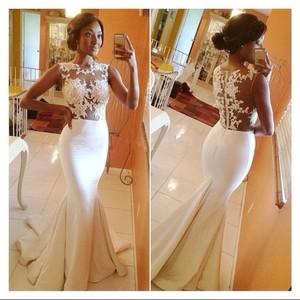 Selling Fast O-Neck Mermaid Prom Dress Sleeveless Satin Zipper Back Activity Dress Floor-Length Lace Adults Vestido De Festa2016