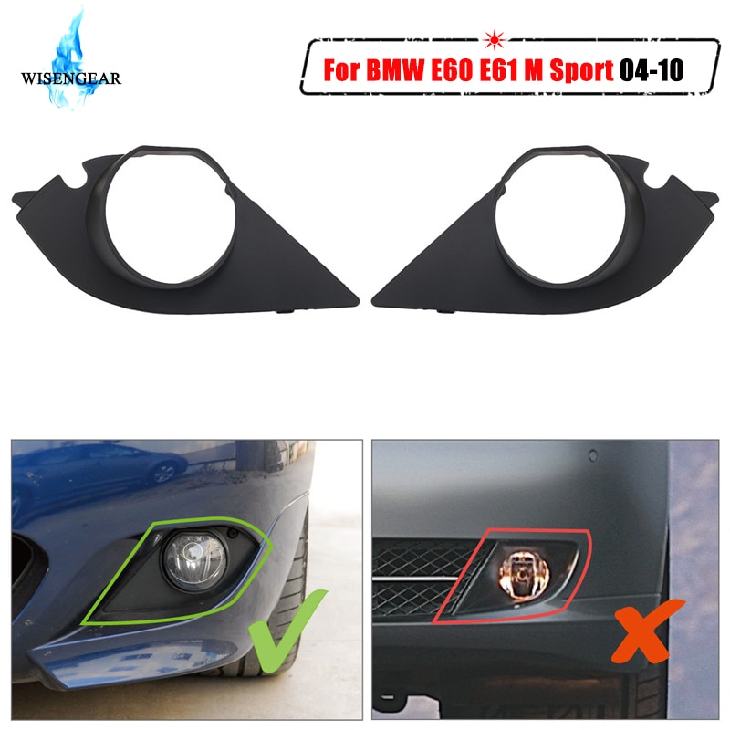Для BMW E60 E61 M Спортивная противотуманная фара Гриль Крышка переднего бампера противотуманные фары решетка рамка отделка 525i 528i 530i 2004-2010 WISENGEAR/
