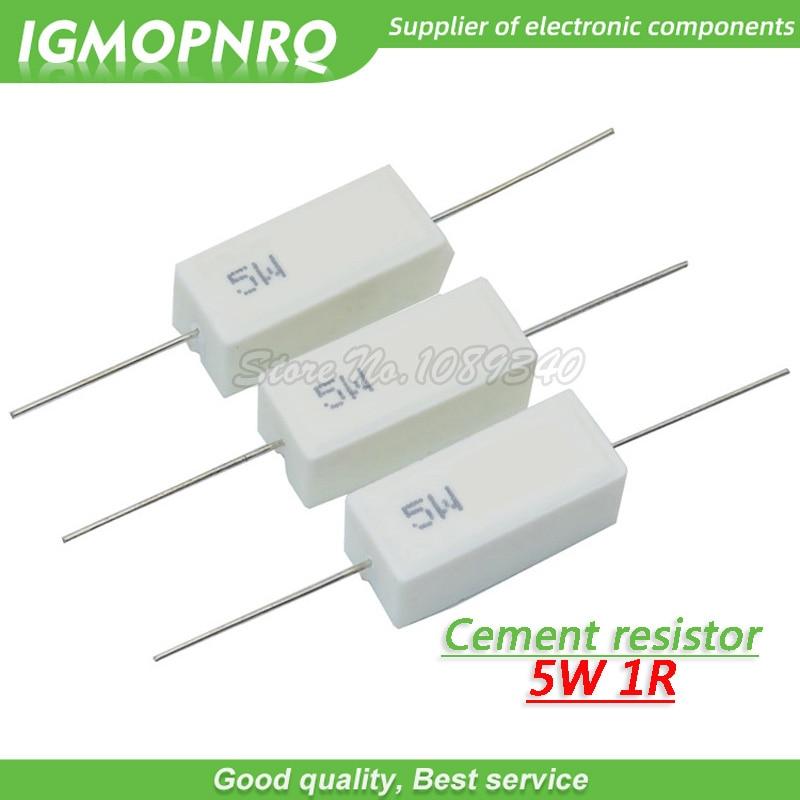 Resistor de resistencia de cemento, 10 Uds., 5W, 1 ohm, 1R, 1 ohm, GMOPNRQ