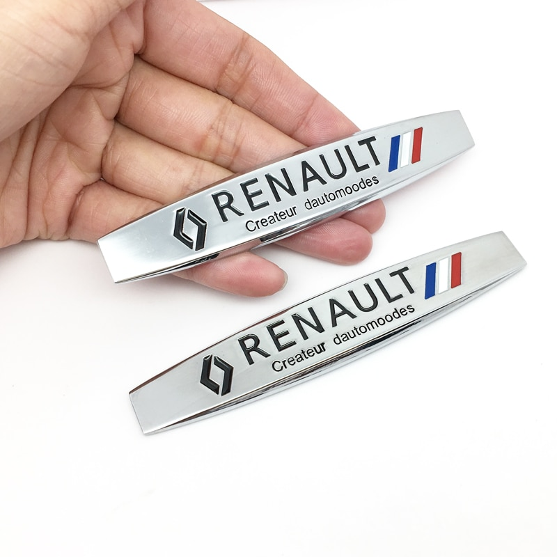 ANTINIYA 2pc 3D de Metal para Renault coche emblema Fender pegatinas laterales para Koleos KADJAR Fluence talismán MEGANE estilo de coche