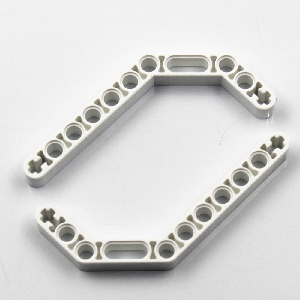 Самоблокирующиеся строительные блоки MOC, 10 шт., двойной Угловой луч 3X7, угол 45 градусов, совместим с лего NOC4268653