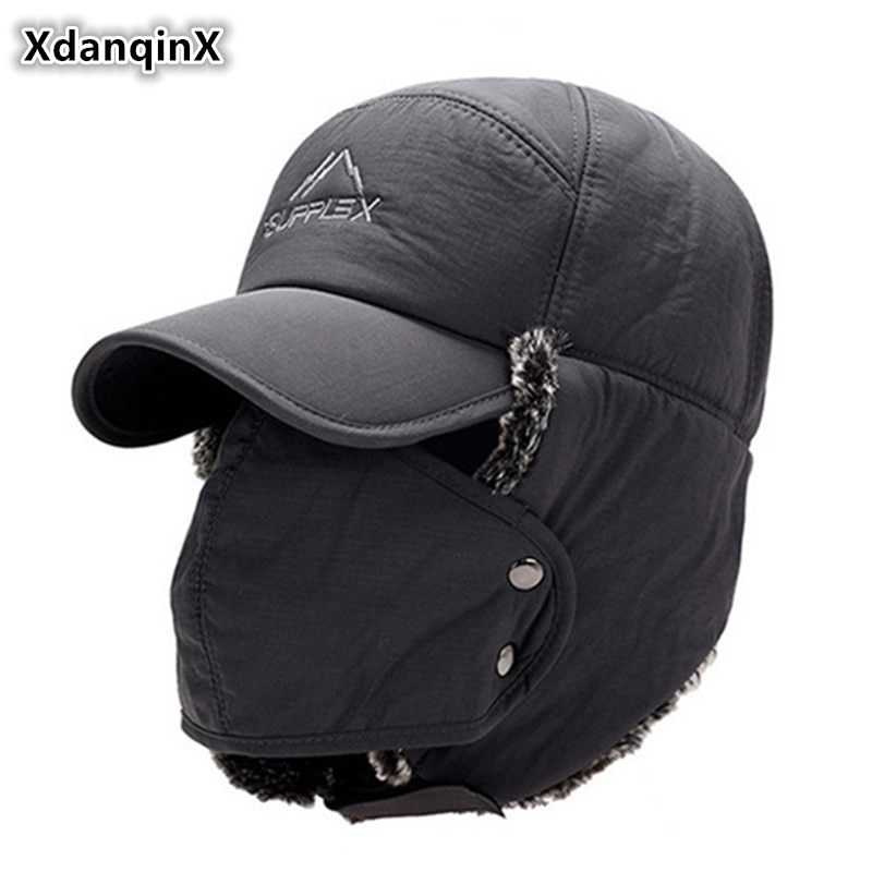 XdanqinX Men's Ear Protection Face Bomber Hats Thicker Plus Velvet Warm Woman Winter Hat Resist The