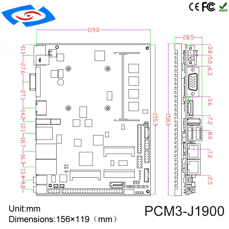 Industrial Main board for POS for Digital Signage with J1900 intel processor 4Gb ram lvds thin mini itx Motherboard