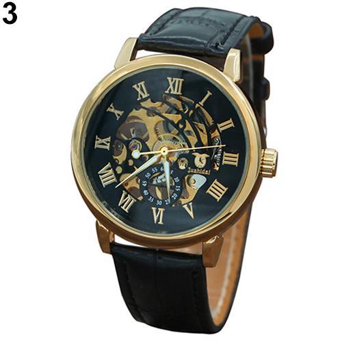Reloj de pulsera con esfera hueca mecánica con números romanos de 3 colores para hombre, reloj automático de regalo