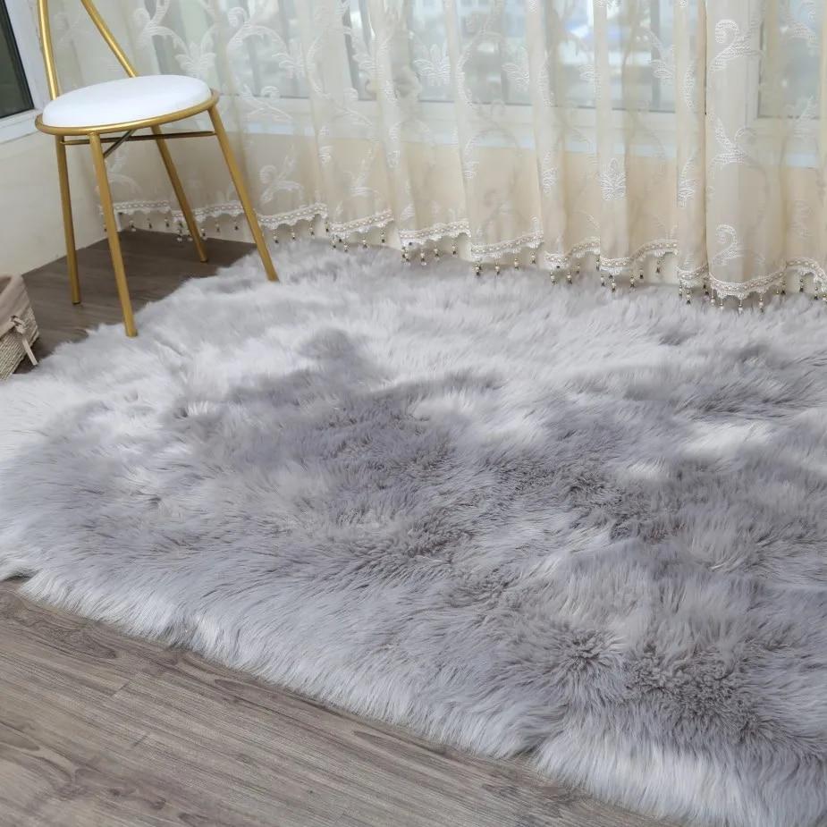 LIU – tapis en laine artificielle, peluche épaisse, doux, moderne, pour lit, chambre à coucher, salon, fenêtre, fourrure, canapé, personnalisé