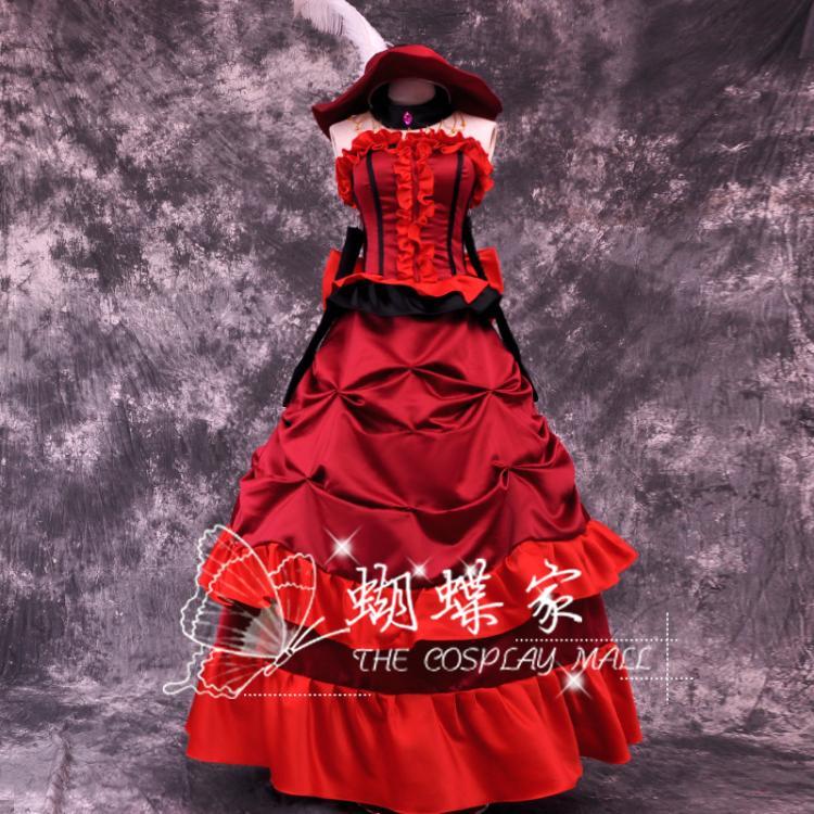 Frete grátis anime preto mordomo morte shinigami grell sutcliff cosplay vestido vermelho carnaval halloween trajes para mulher