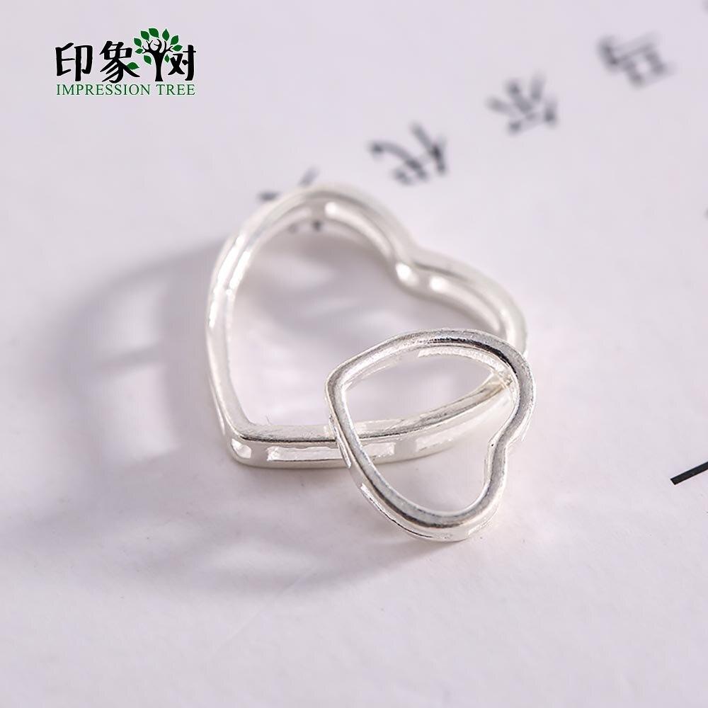 5 uds 925 plata esterlina corazón cuenta espaciadora bucle doble capa Agujero hueco a través del lado collar pendiente DIY piezas de joyería 92515