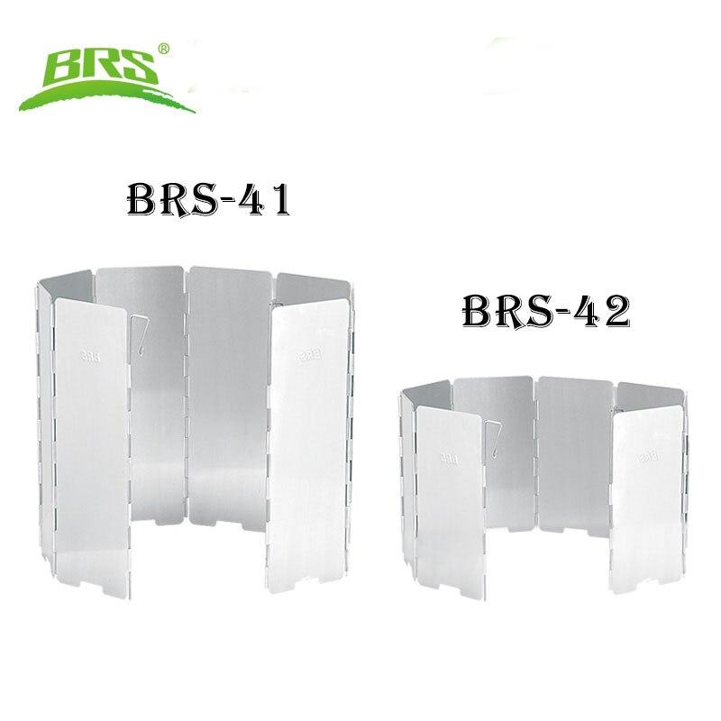 BRS-41 BRS-42 exterior ultraligero 8 placas parabrisas plegable estufa para acampar cocinar accesorios a prueba de viento