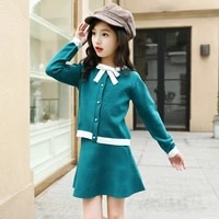 kids girls clothing sets 2018 spring autumn children knit coatskirt 2pcs set fashion girls clothes outfits 4 6 8 10 12 13 years