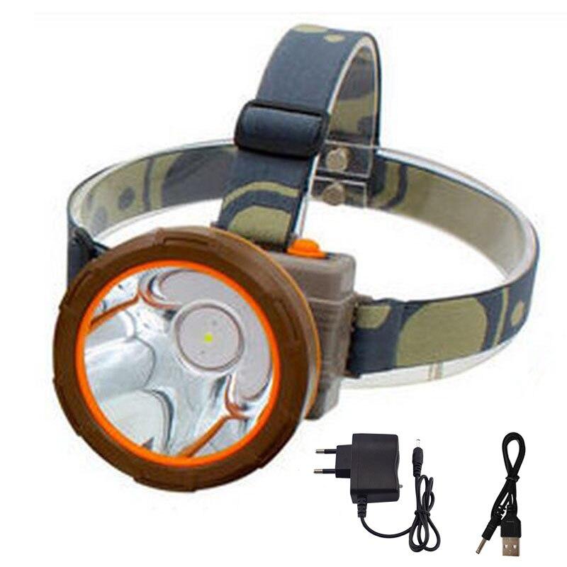 Налобный фонарь высокой мощности, светодиодный, водонепроницаемый, для рыбалки, кемпинга, перезаряжаемый аккумулятор