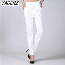 2020 verão feminino linho harem pants meia-idade senhora cintura elástica solto calças casuais plus size 4xl bolso fino feminino