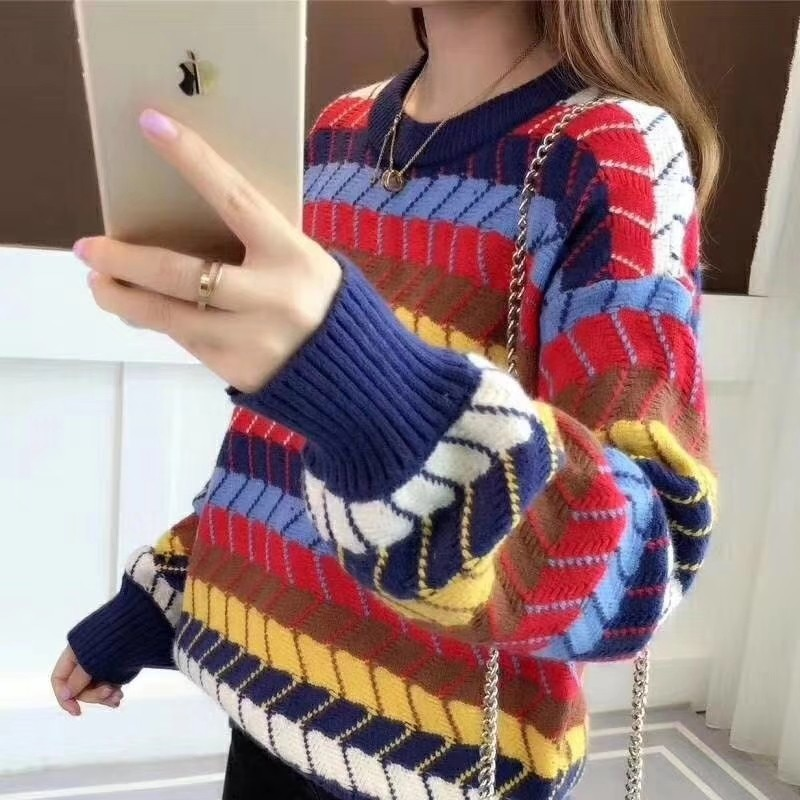 Assorted Colors Loose Knit Sweater for Students Girls enlarge