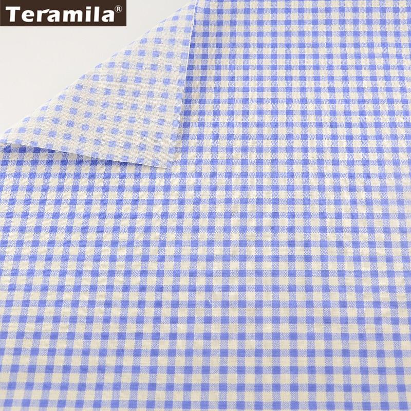 TERAMILA Blue Checks Designs Home Textile 100% Linen Fabric DIY for Tablecloth Pillow Bag Curtain Cushion Pillow Zakka
