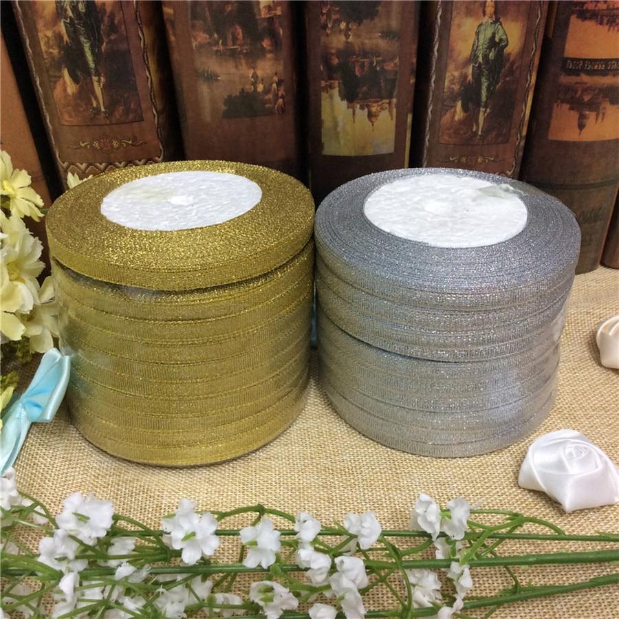 """Neue (25 Yards/rolle) gold/Silber Glitter Band 1/4 """"6 MM Zwiebeln Bänder Riband Für Hochzeit kuchen Geschenk Dekoration DIY Handwerk liefert"""