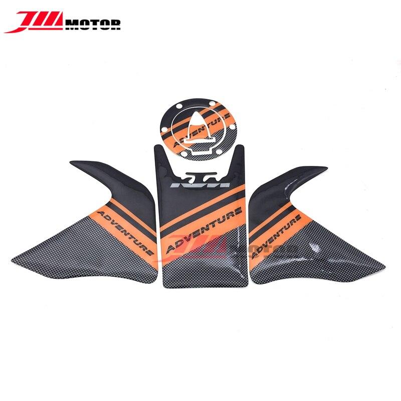 Motocicleta 3D Real de fibra de carbono tanque almohadilla para depósito Gas tapa emblema pegatina de protección para KTM 1190 Adventure/R 1290 Adventure
