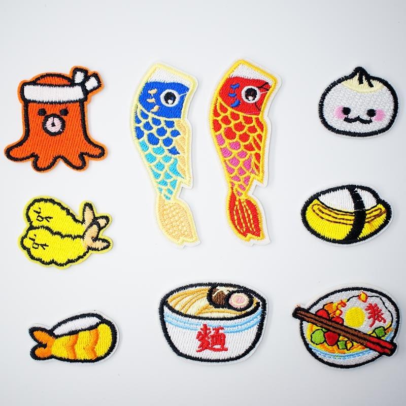 Sushi arroz comida Baozi coser ropa de remendar tab sign sello para modificar rehacer la reforma hacer sobre Sastre en la camiseta vestir ropa