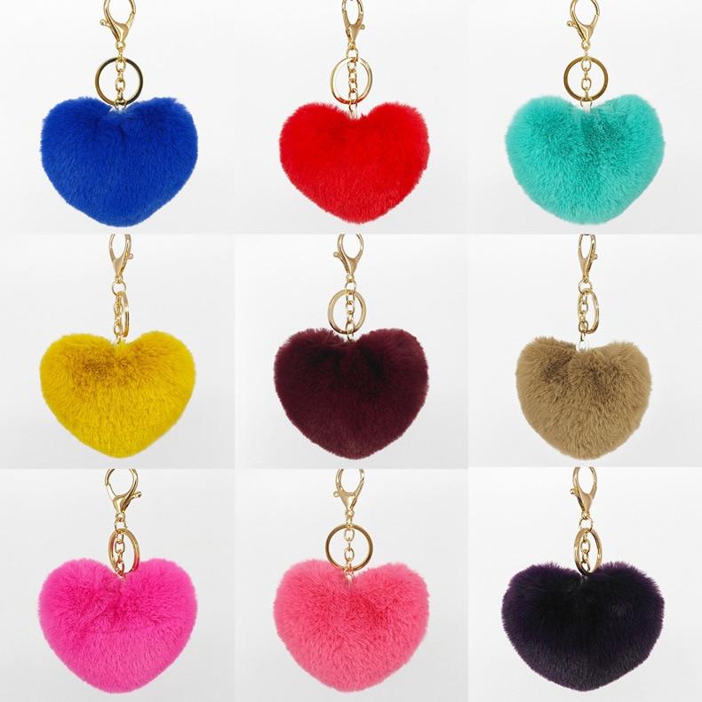 10CM Fluffy heart-shaped pendant key chain faux rabbit bunny fur Pompon Ball KeyChain key ring Women Bag pendant Christmas Gift