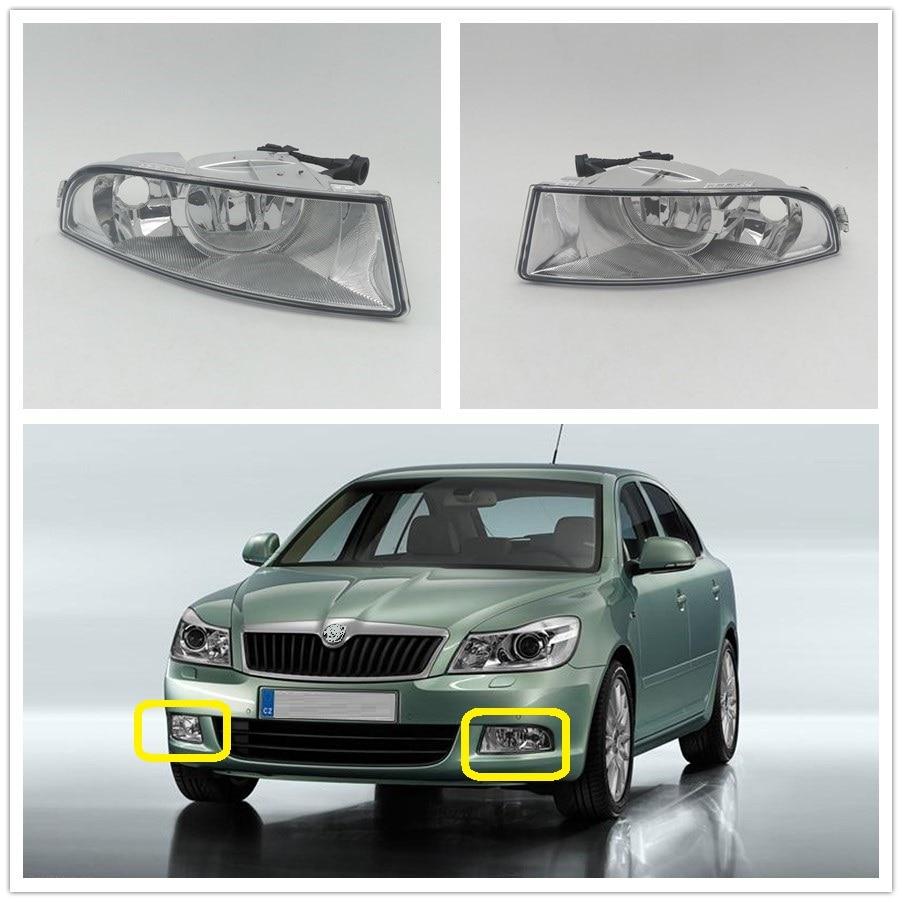 DFLA For Skoda Octavia A5 A6 MK2 FL 2009 2010 2011 2012 2013 Car-styling Front Halogen Fog Light Fog Lamp With 2 Bulbs  Holes