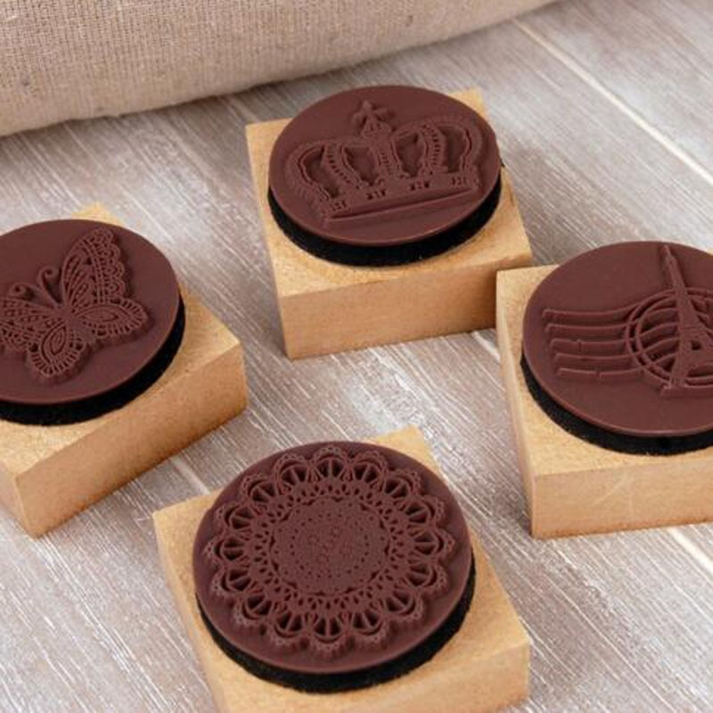 Vintage lace wood stamp Butterfly  Tower Crown DIY gift stamp with Ink pad/Labels, Indexes & Stamps H032
