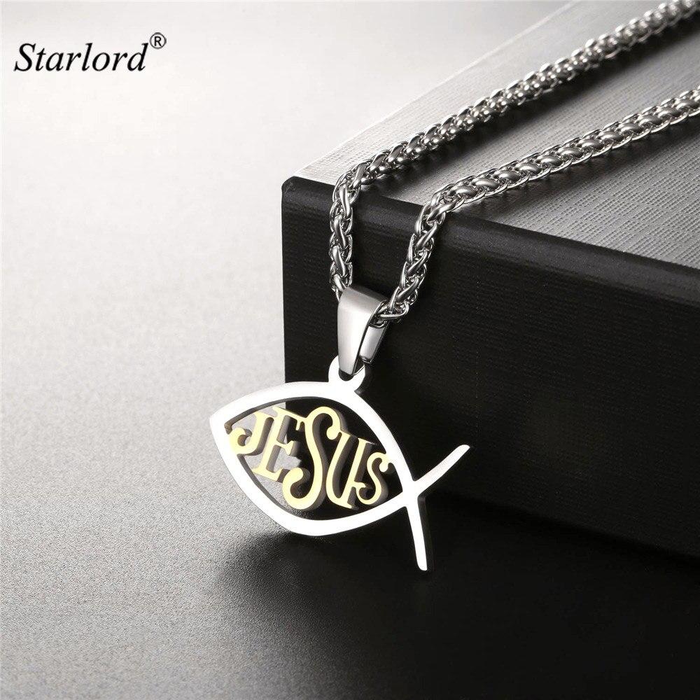 Ожерелье с кулоном из нержавеющей стали золотистого цвета с христианскими символами Иисуса рыбы GP2520