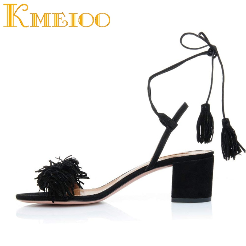 Kmeioo-صندل نسائي بكعب على طراز المصارع مع حزام كاحل ، أحذية صيفية مع شرابات ، لحفلات الزفاف