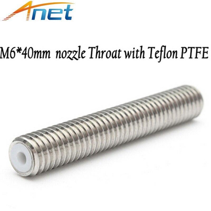 5pcs M6*40mm/30mm Long Nozzle Throat Tube 3D Printer Part Heatbreak with Teflon PTFE for A8 A6 Extruder 1.75mm Filament Prusa