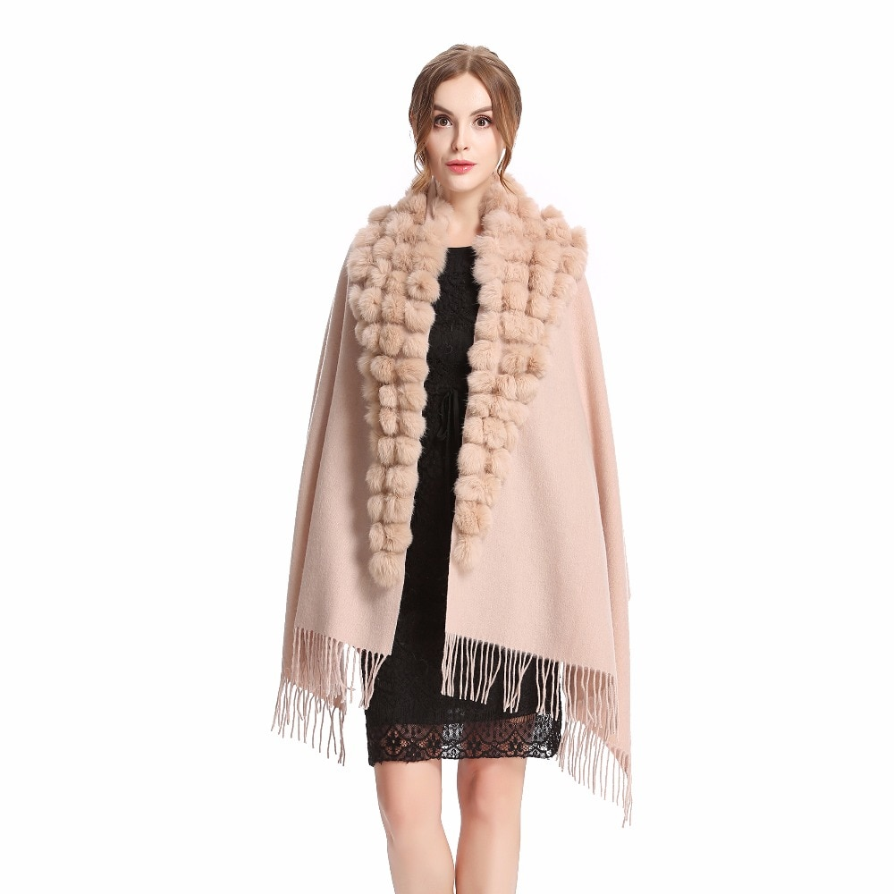 AliExpress - ZY87001 Fashion Womens Autumn Winter Wool With Rabbit Fur Pompon Warm Tassel Shawl Scarf Wrap 25 Colors Shipping Free