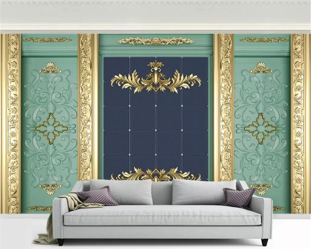 Beibehang, papel pintado estéreo de moda decorativo personalizado, papel tapiz de lujo europeo, papel de pared tallado dorado