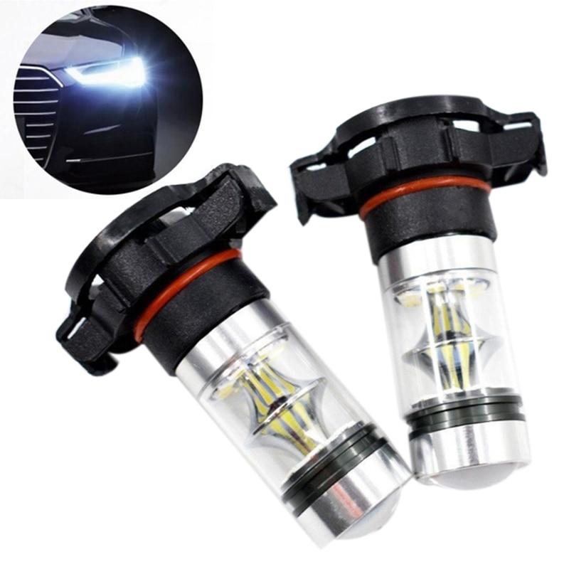 2x5202 H16 PS24w Высокая мощность 100w 6000k супер белые светодиодные противотуманные Drl лампы