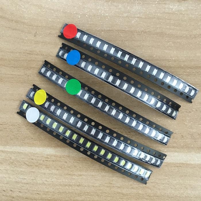 5x100 шт/цвет = 500 шт Новый 1206 0805 0603 красный/зеленый/синий/белый/желтый SMD светодиодный комплект