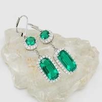 aaa solid 14k white gold round cut 1ct 2pcs earrings cushion cut emerald earrings 4ct total 10ctw earrings jewelry for women