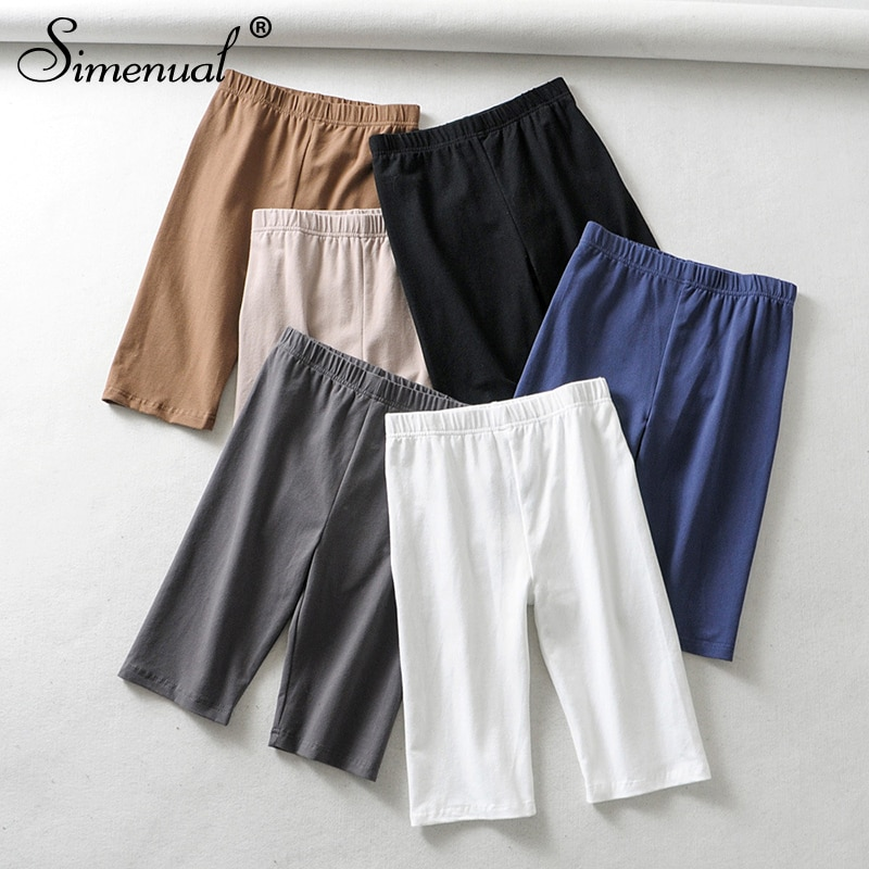 Simenual High waist women biker shorts solid fitness athleisure short pants 2021 casual slim cycling