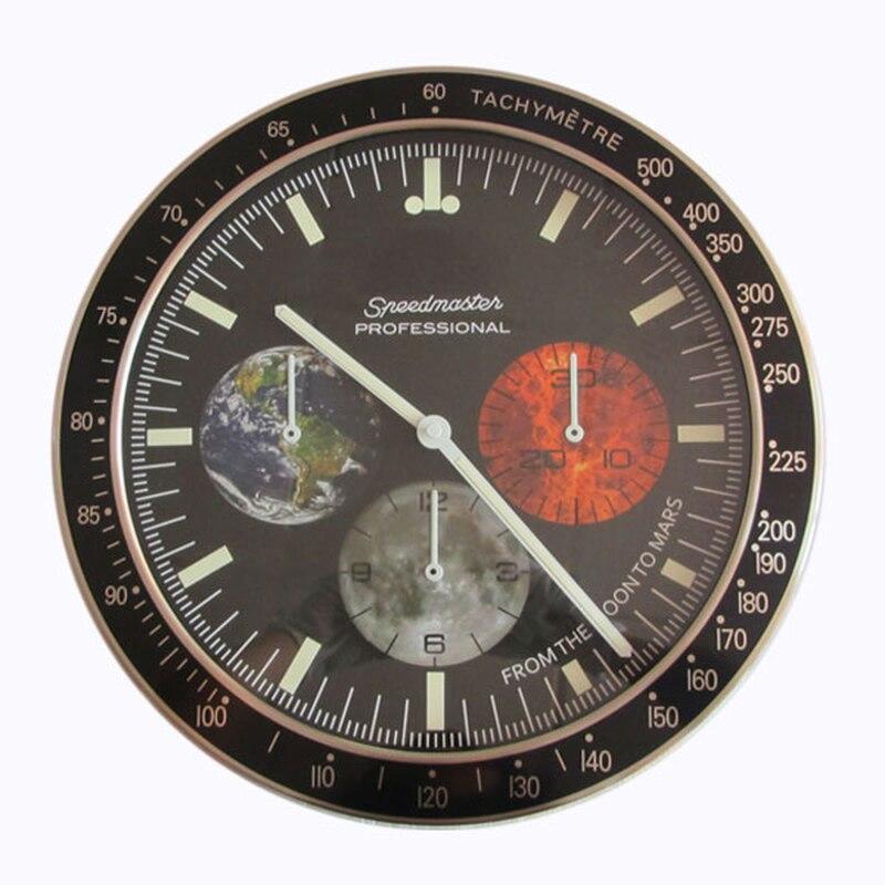 Reloj De pared De diseño moderno De 34CM De lujo, reloj artístico De Metal, reloj De pared, reloj Decorativo con Logos correspondientes