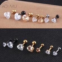 AOMU 2 Piece 316L Stainless Steel Heart Zircon Tragus Earring Helix Barbell Ear Piercing Cartilage Ring Jewelry for Women Girl