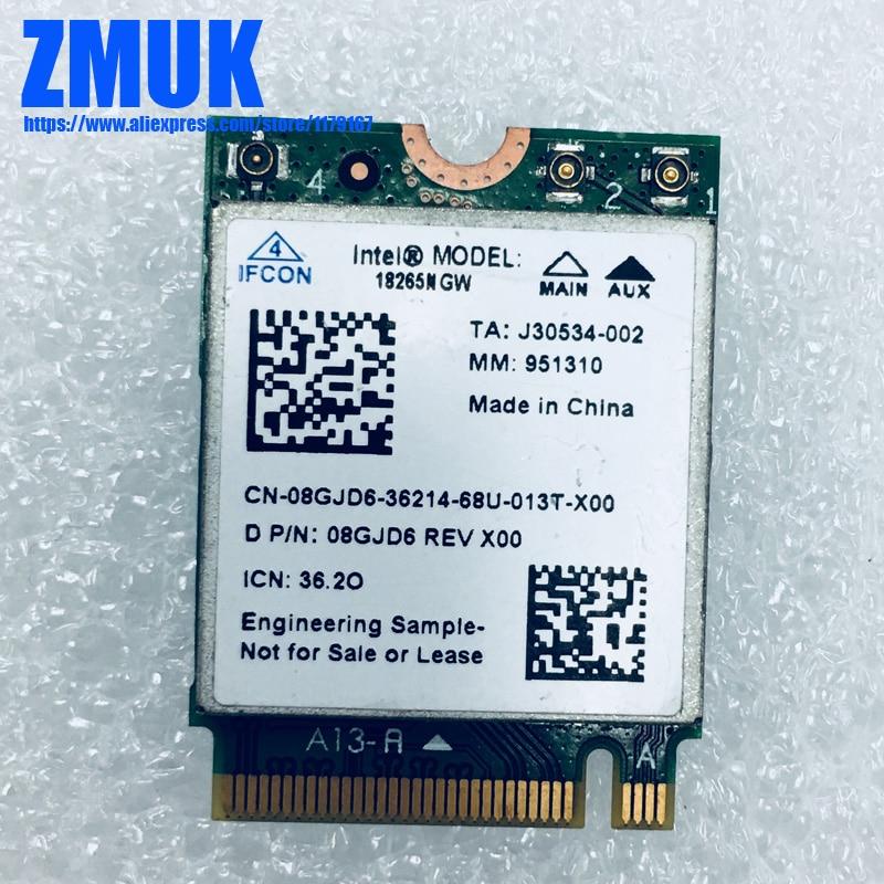 Intel NGFF 18265NGW Cartão Bluetooth Wi-fi Sem Fio-AC Para Dell Latitude 5580 7480 Series, P/N 8GJD6