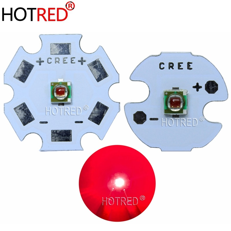 Nuevo 1 Uds 1-3W CREE XP-E XPE foto rojo profundo 660nm LED rojo profundo emisor LED Didoes en 20mm/16mm/14mm/12mm/8mm PCB