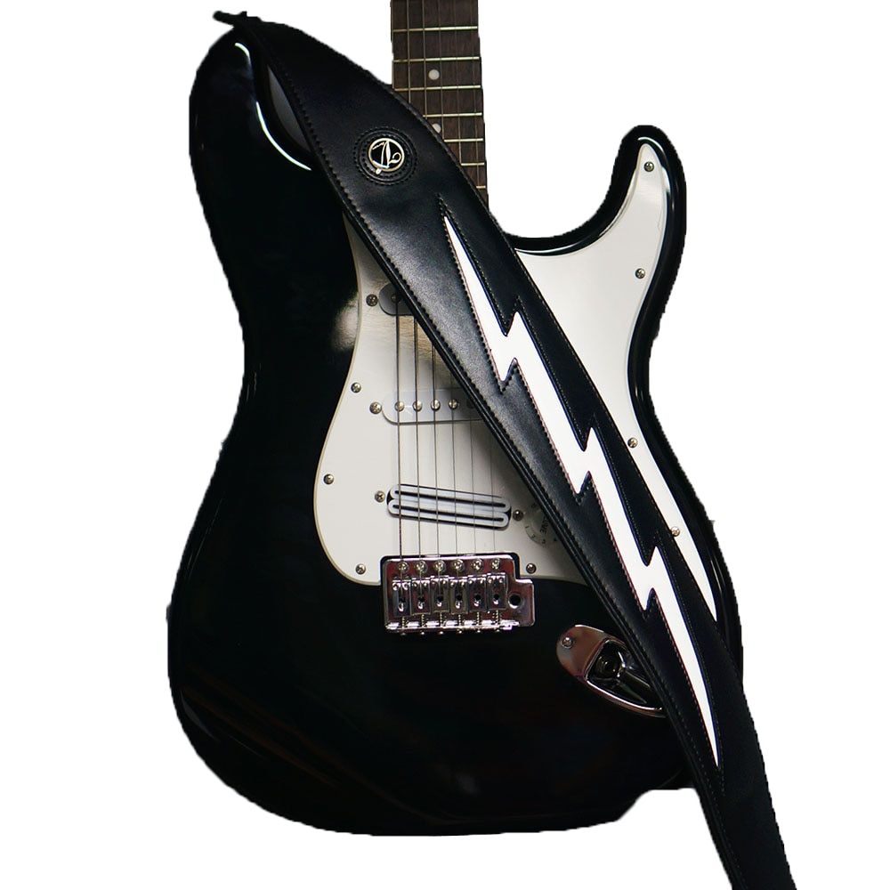 Leather Padded Adjustable Guitar Strap Black Or White Cool Lightning Bolt Strap For Guitar Acoustic Bass Guitarra enlarge