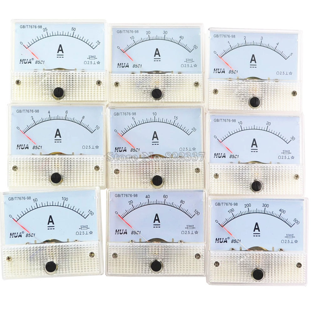 Medidor de corrente analógico painel 85c1 dc 1a 2a 3a 5a 10a 20a 30a amp calibre atual ammetros mecânicos