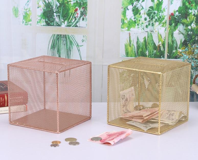 Estilo criativo caixas de dinheiro arte do banco de metal fresco quarto mesa decoração crianças tanque de dinheiro cofre dinheiro mealheiro lfb658