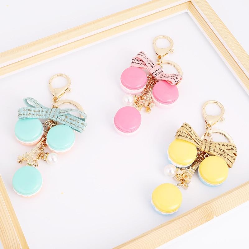 Cute Cake keychains Creative Keyrings Women Bag Charm Purse Pendant Ladies Fashion Key Chain Car Key Ring Party Gifts Wholesale