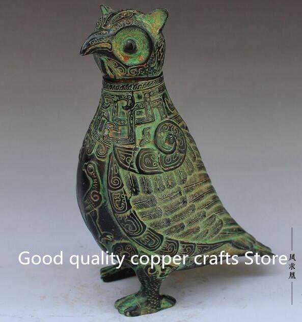 Esculpida em Bronze Estátua de Coruja China Collectible Decorado Handwork